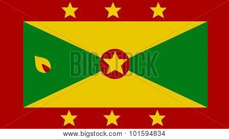 Grenada Flag For Independence Day And Infographic Vector Illustration.