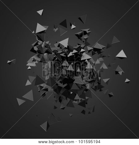 Abstract 3D Rendering of Flying Particles.