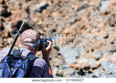 El Teide, Tenerife, June 06, 2015: Unidentified Tourist Takes Pictures On  The Top Of El Teide Volca