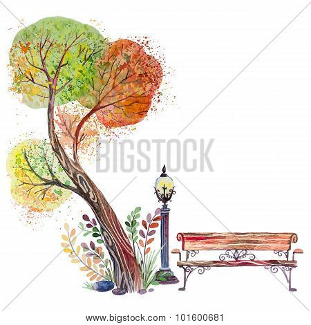 Autumn background with Big Tree