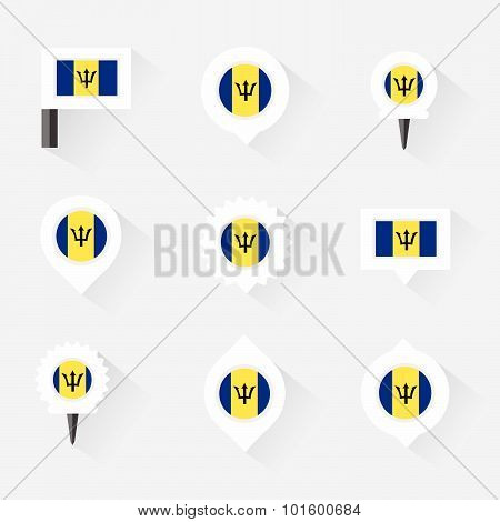 Barbados Flag And Pins For Infographic, And Map Design