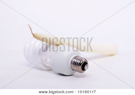 Candle and Compact Fluorescent Bulb
