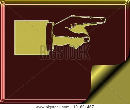 Elegant Burgundy and gold colored stationary with gold page curl - hand pointing to show direction