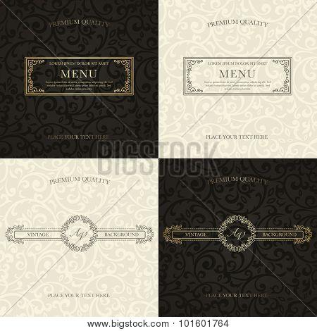 Set of vintage backgrounds. Golden frames on black pattern and gray frames on beige pattern for certificate, diploma, book cover, logo. Flourish design elements.