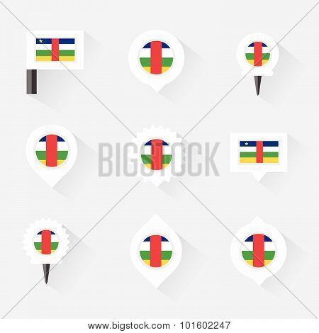 Central African Republic Flag And Pins For Infographic, And Map Design