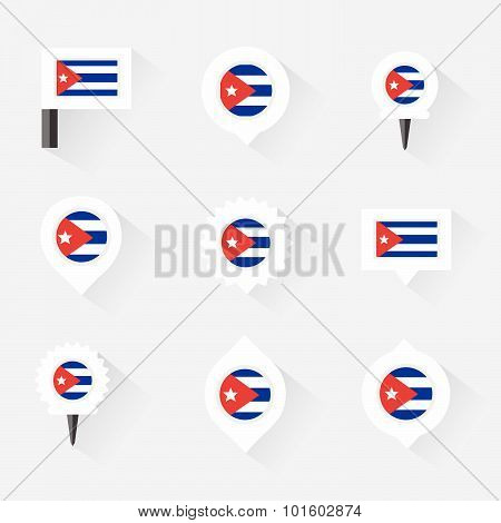 Cuba Flag And Pins For Infographic, And Map Design