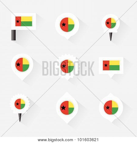 Guinea Bissau Flag And Pins For Infographic, And Map Design