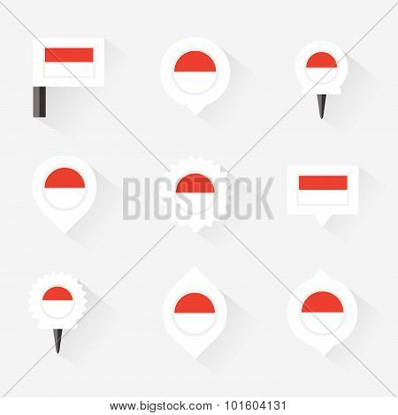 Indonesia Flag And Pins For Infographic, And Map Design