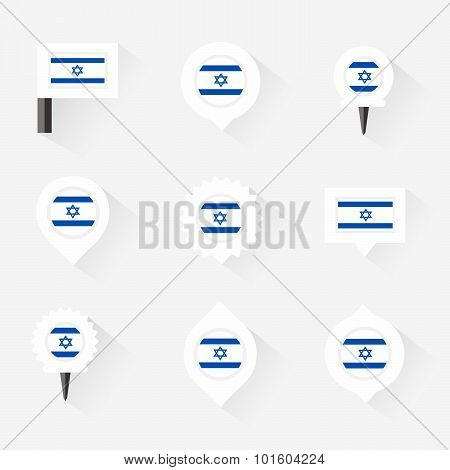 Israel Flag And Pins For Infographic, And Map Design