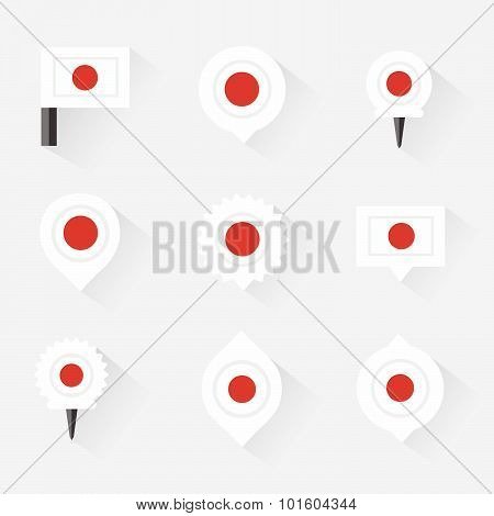 Japan Flag And Pins For Infographic, And Map Design
