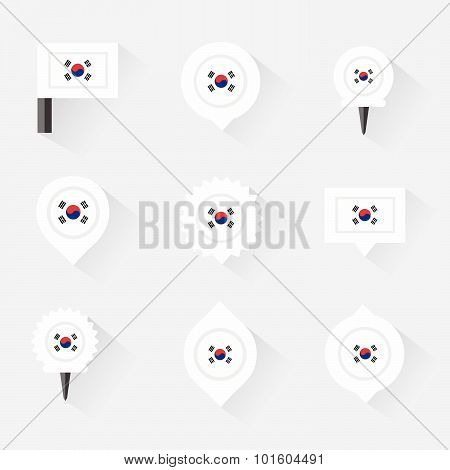 Korea South Flag And Pins For Infographic, And Map Design