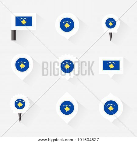 Kosovo Flag And Pins For Infographic, And Map Design