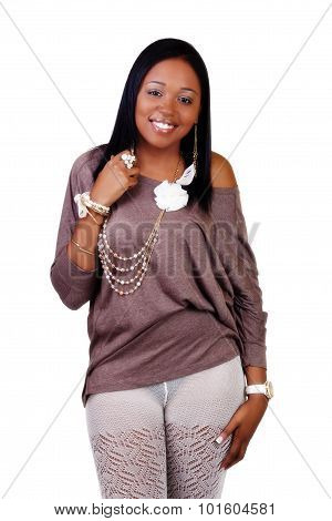 Smiling African American Woman Standing In Textured Stockings