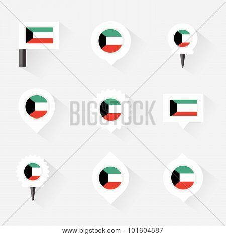 Kuwait Flag And Pins For Infographic, And Map Design