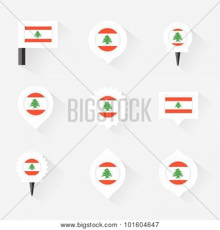 Lebanon Flag And Pins For Infographic, And Map Design