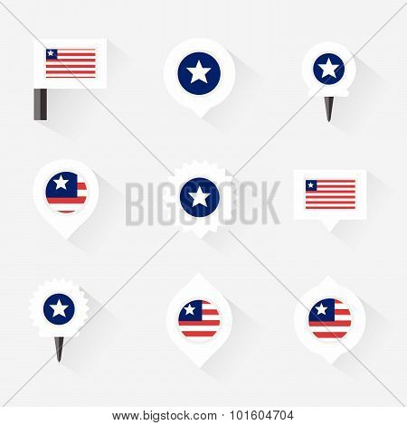 Liberia Flag And Pins For Infographic, And Map Design