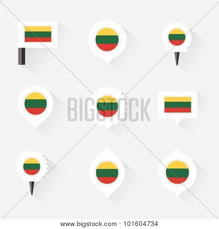 Lithuania Flag And Pins For Infographic, And Map Design