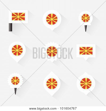 Macedonia Flag And Pins For Infographic, And Map Design