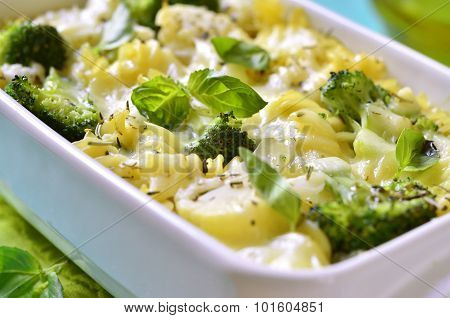Pasta Casserole With Broccoli,cauliflower And Cheese.