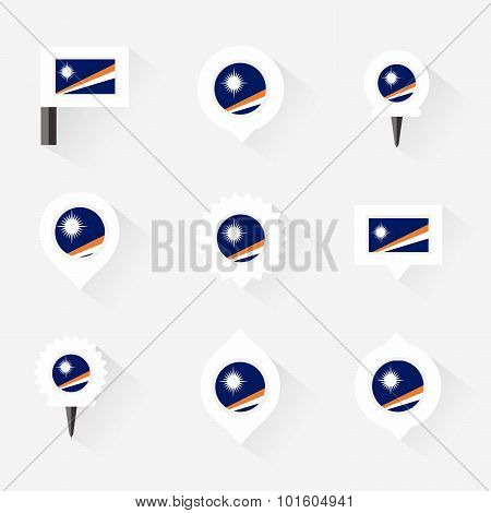 Marshall Islands Flag And Pins For Infographic, And Map Design