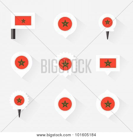 Morocco Flag And Pins For Infographic, And Map Design