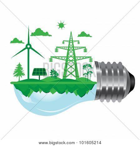 eco concept, renewable energy, sustainable development, vector illustration in flat design