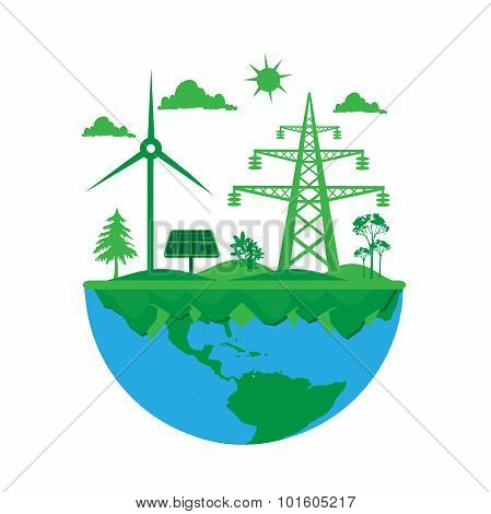 Green planet concept in flat style isolated on white background, vector, illustration