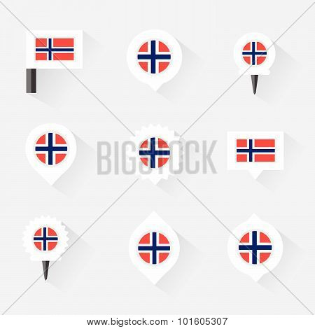 Norway Flag And Pins For Infographic, And Map Design