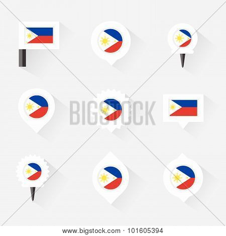 Philippines Flag And Pins For Infographic, And Map Design