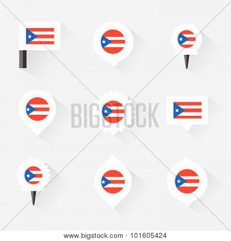 Puerto Rico  Flag And Pins For Infographic, And Map Design