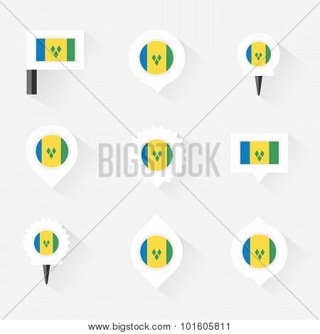 St Vincent & The Grenadines Flag And Pins For Infographic, And Map Design