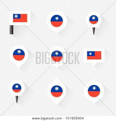 Taiwan Flag And Pins For Infographic, And Map Design