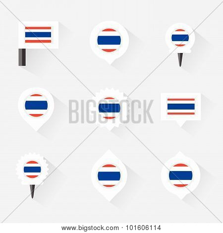 Thailand Flag And Pins For Infographic, And Map Design