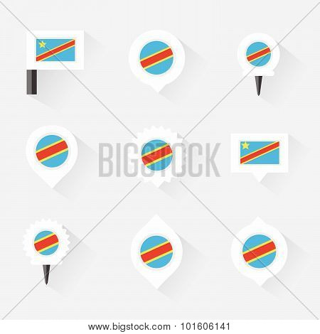 The Democratic Republic Of The Congo Flag And Pins For Infographic, And Map Design