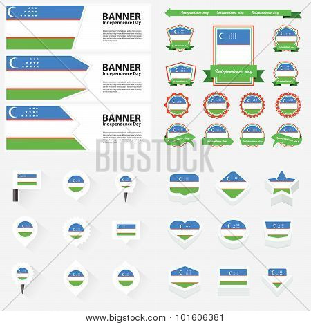 Uzbekistan Independence Day, Infographic, And Label Set.