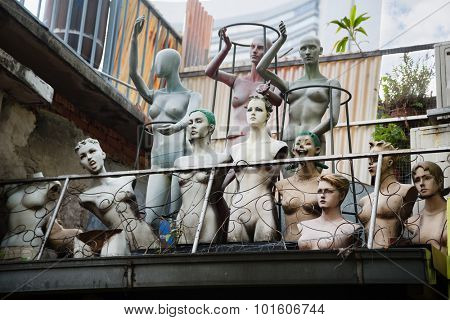 Old mannequins on the roof of a building in the Arab quarter (Kampong Glam) Singapore.