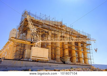 Scenic View Of Ancient Pantheon Temple Under Construction, Athens, Greece