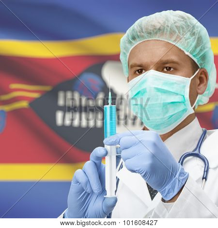 Doctor With Syringe In Hands And Flag On Background Series - Swaziland