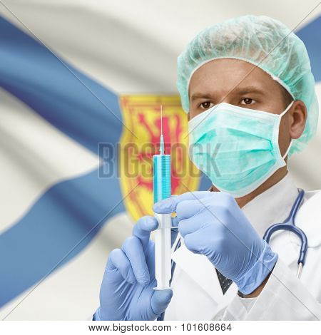 Doctor With Syringe In Hands And Canadian Province Flag On Background Series - Nova Scotia