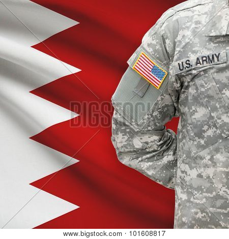 American Soldier With Flag On Background - Bahrain
