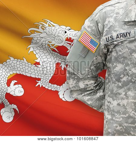 American Soldier With Flag On Background - Bhutan