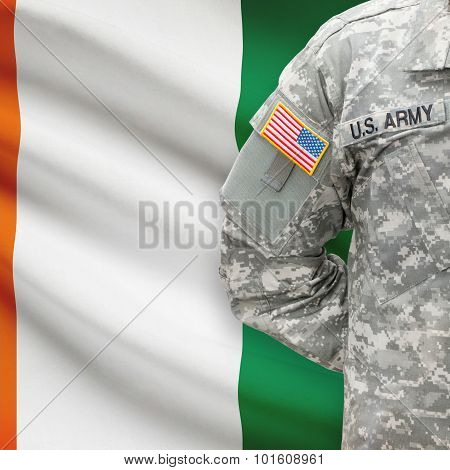 American Soldier With Flag On Background - Cote D'ivoire - Ivory Coast