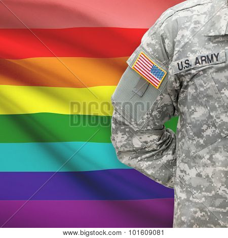 American Soldier With Flag On Background - Lgbt People