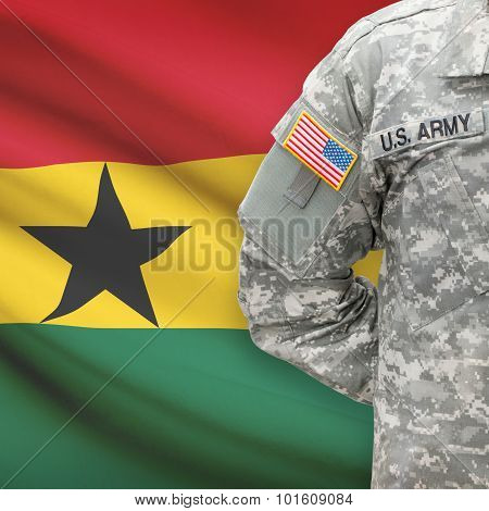 American Soldier With Flag On Background - Ghana
