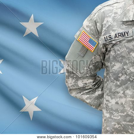 American Soldier With Flag On Background - Federated States Of Micronesia