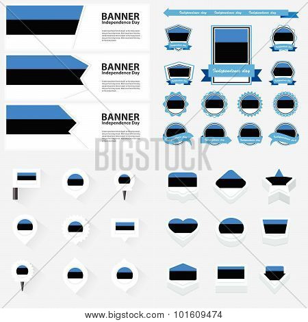 Estonia Independence Day, Infographic, And Label Set.