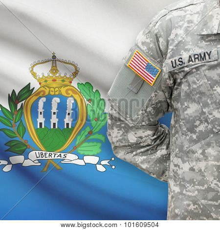 American Soldier With Flag On Background - San Marino