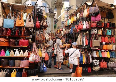 Florence Market Selling Leather Goods