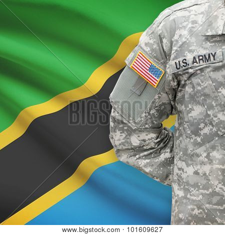 American Soldier With Flag On Background - Tanzania