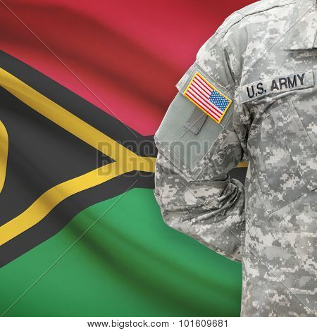 American Soldier With Flag On Background - Vanuatu